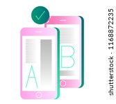 letter a and b on smartphones... | Shutterstock .eps vector #1168872235