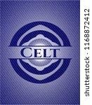 Stock vector celt badge with denim background 1168872412