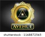 golden badge with illuminati... | Shutterstock .eps vector #1168872565