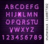 neon font set night alphabet... | Shutterstock .eps vector #1168877302