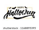 happy halloween lettering...   Shutterstock .eps vector #1168895395