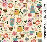 vector cream garden tea party... | Shutterstock . vector #1168908895