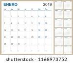spanish planning calendar 2019  ... | Shutterstock .eps vector #1168973752