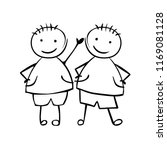 twins boys. brothers. linear... | Shutterstock .eps vector #1169081128