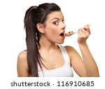 young girl eating cornflakes... | Shutterstock . vector #116910685