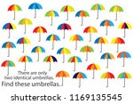 find only two same umbrellas ... | Shutterstock .eps vector #1169135545