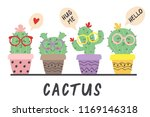cartoon funny cactus in glasses ... | Shutterstock .eps vector #1169146318