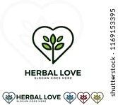 herbal love logo illustration.... | Shutterstock .eps vector #1169153395