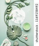natural cosmetic flat lay....   Shutterstock . vector #1169158492
