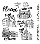 rome landmark vector sketch set.... | Shutterstock .eps vector #1169221588