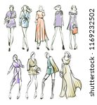 sketch. fashion girls on a... | Shutterstock . vector #1169232502