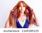 closeup portrait of female...   Shutterstock . vector #1169285125