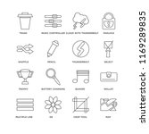 set of 16 simple line icons... | Shutterstock .eps vector #1169289835