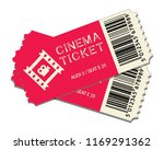 two cinema tickets isolated on... | Shutterstock .eps vector #1169291362