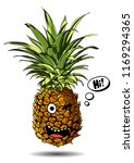 cute fresh pineapple cartoon... | Shutterstock .eps vector #1169294365