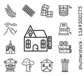 set of 13 linear editable icons ...