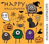 happy halloween doodle vector... | Shutterstock .eps vector #1169361595