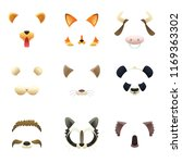 masks of funny animals. ears... | Shutterstock . vector #1169363302