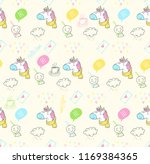 doodle rain and unicorn pattern | Shutterstock .eps vector #1169384365