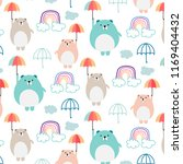 cute bear and umbrella pattern... | Shutterstock .eps vector #1169404432