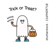 halloween card with cute ghost... | Shutterstock .eps vector #1169409718