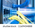 fiber optic cables connected to ... | Shutterstock . vector #1169434888