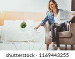 morning press. business lady... | Shutterstock . vector #1169443255