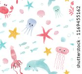 watercolor cute sea pattern ... | Shutterstock . vector #1169455162