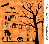 happy halloween scene with... | Shutterstock .eps vector #1169502412