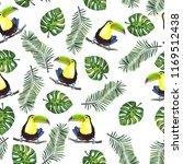 watercolor pattern of palm... | Shutterstock . vector #1169512438