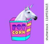 unicorn loves popcorn...   Shutterstock . vector #1169515615