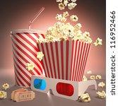 popcorn  soda  3d glasses and...   Shutterstock . vector #116952466