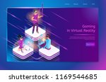 gaming in virtual reality... | Shutterstock .eps vector #1169544685