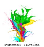 Colored paint splashes bouquet isolated on white background - stock photo