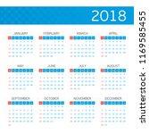 calendar template for 2018 year....   Shutterstock .eps vector #1169585455