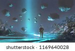 astronaut on turquoise planet... | Shutterstock . vector #1169640028