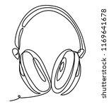 wireless headphones with music... | Shutterstock .eps vector #1169641678