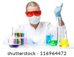 female doctor performs analysis ... | Shutterstock . vector #116964472