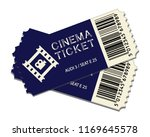 two cinema tickets isolated on... | Shutterstock .eps vector #1169645578