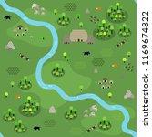seamless jungle map pattern in... | Shutterstock .eps vector #1169674822