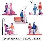 vector couple walking holding... | Shutterstock .eps vector #1169705155