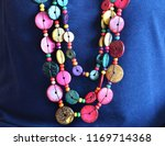 color full beaded necklace on... | Shutterstock . vector #1169714368