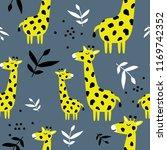 giraffes  leaves  hand drawn...   Shutterstock .eps vector #1169742352