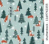 Foxes  Fir Trees  Snow  Hand...