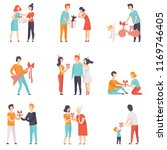 people giving gifts to friends  ... | Shutterstock .eps vector #1169746405