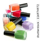 group of bright nail polishes... | Shutterstock . vector #116974972