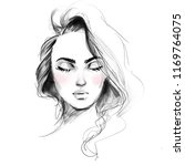 beautiful girl face with closed ... | Shutterstock . vector #1169764075
