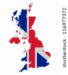 map and flag of united kingdom | Shutterstock .eps vector #116977372
