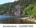 lake  high cliff  overgrown... | Shutterstock . vector #1169807485