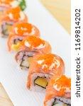philadelphia roll sushi with... | Shutterstock . vector #1169814202